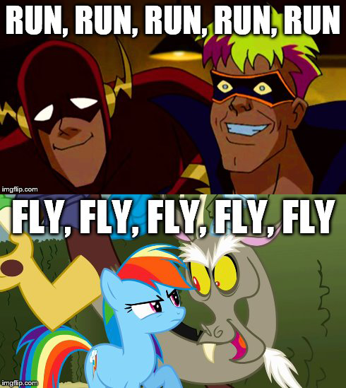 851882   comparison  discord  flash  justice league  meme  rainbow      851882   comparison  discord  flash  justice league  meme  rainbow dash   safe  text  trickster   Derpibooru   My Little Pony  Friendship is Magic