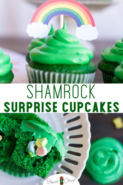 Check out these fun leprechaun inspired cupcakes with Lucky Charms hidden inside like a pinata. They are easy cupcakes to make with a surprise of marshmallows hidden inside for kids and adults to enjoy. Top with rainbow candy or a cupcake topper and you will have a festive dessert for St. Patrick's Day. St. Patricks Day Dessert | St. Patricks Day Food for Kids | St. Patrick's Day Dessert | Rainbow Cupcake | St. Patrick's Day Treats | St. Patrick's Day Cupcakes