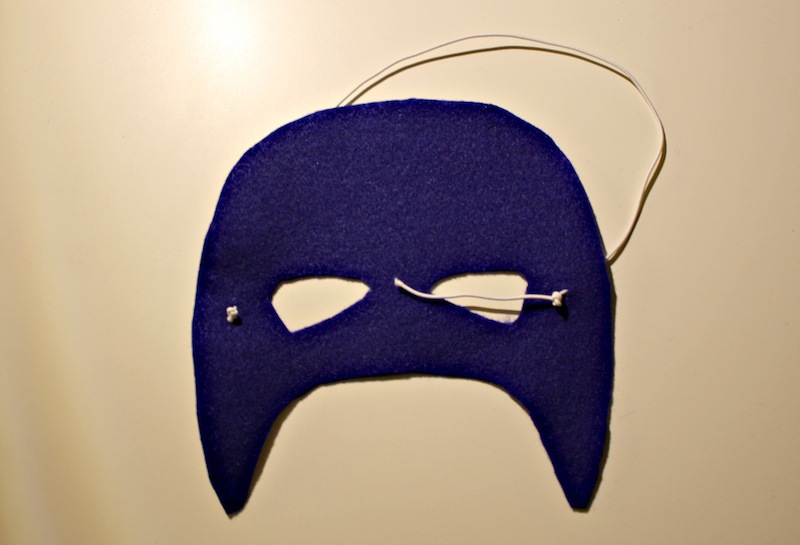Attach Elastic Cord to Captain America Mask
