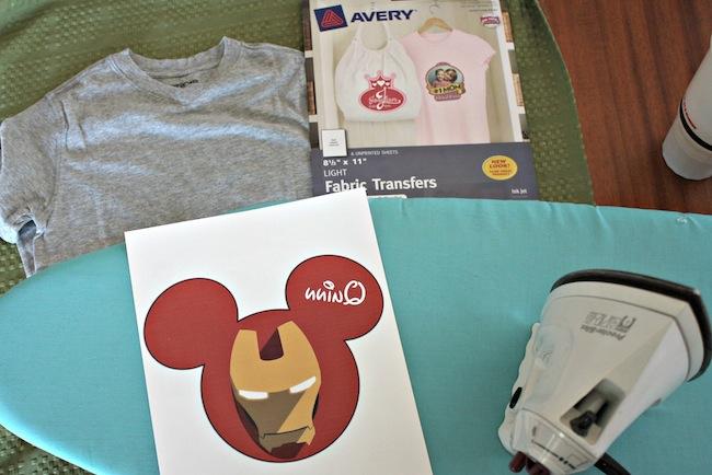 DIY Iron Man Shirt Supplies