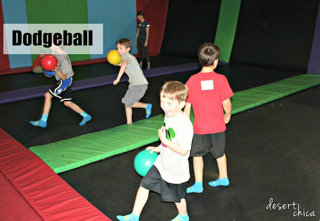 Dodgeball during AZ Air time Birthday Party