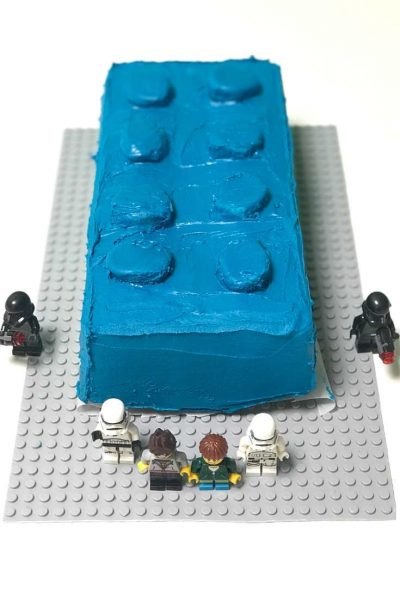 Blue LEGO themed birthday cake