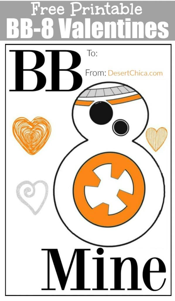 Image of printed BB-8 Valentines card