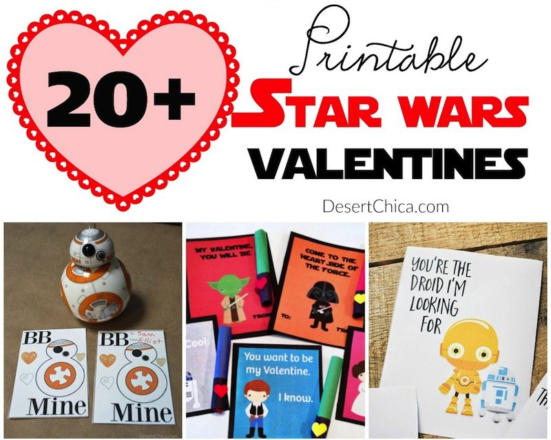 Over 20 free Star Wars Valentine's Day Cards for your you kids to print and exchange with friends. Some can be customized or have a DIY factor when you add fun goodies as well. Star Wars Valentines Cards | Star Wars Valentines Printable | Starwars Valentines Ideas | Starwars Valentines Cards