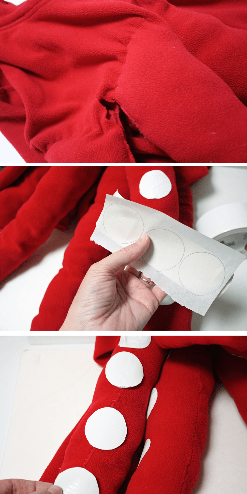 Adding suction cups to octopus costume