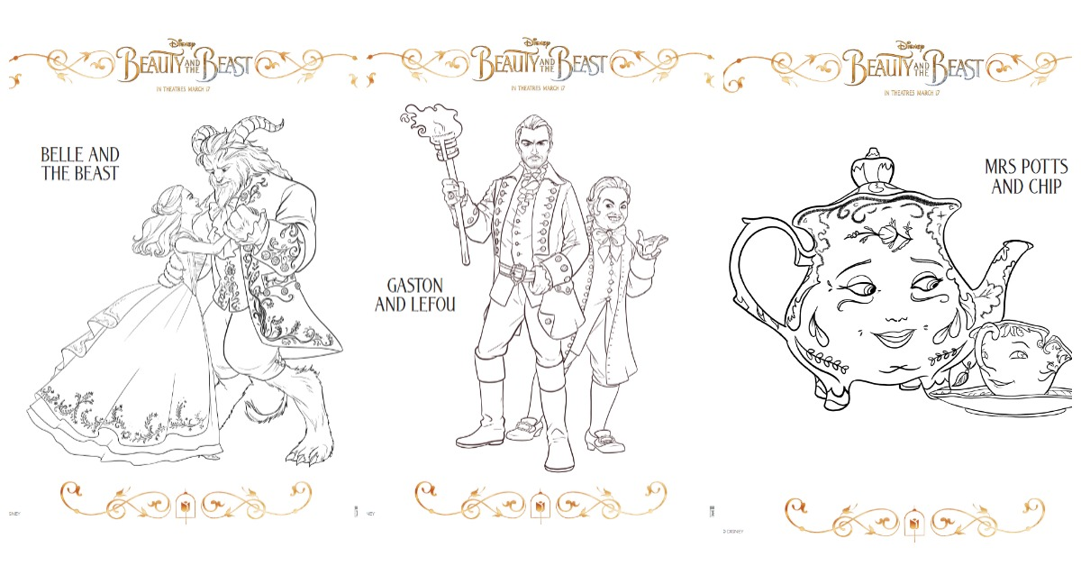 Break out the crayons, it's time for a little fun while we wait for Beauty and the Beast to hit theaters. Print these Beauty and the Beast Coloring pages.