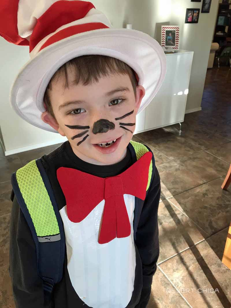 easy cat in the hat costume for dr. Seuss day at school