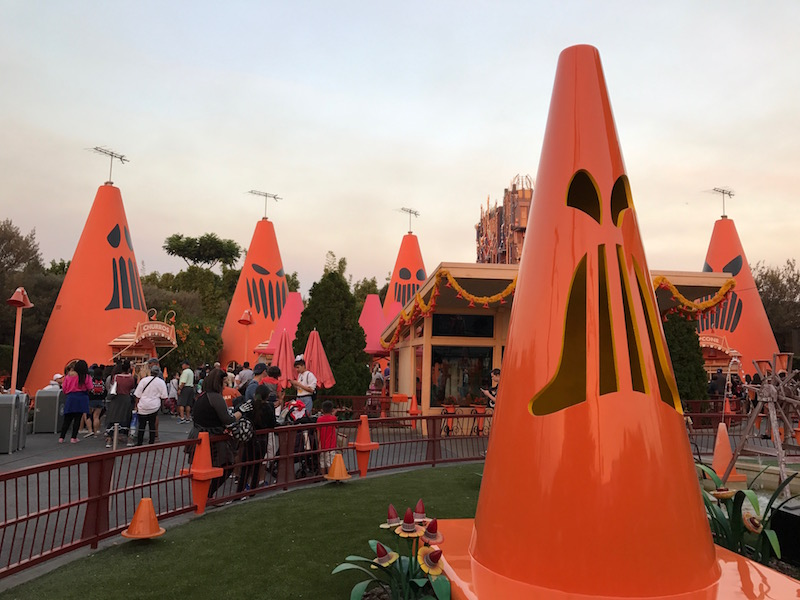 Cozy Cone Motel in Cars Land decorated for Haul-O-Ween