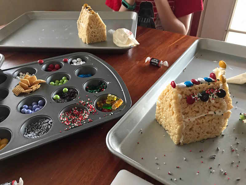 making the easiest gingerbread house ever with premade rice krispies treats