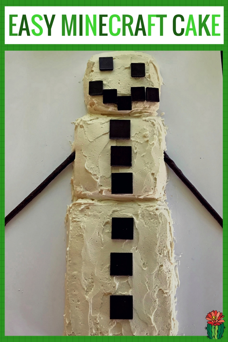How to make an easy Minecraft cake for a birthday party. This simple tutorial uses a homemade sheet cake, small square pans and white buttercream frosting. This Minecraft idea is a fun snowman and easy very simple to put together.