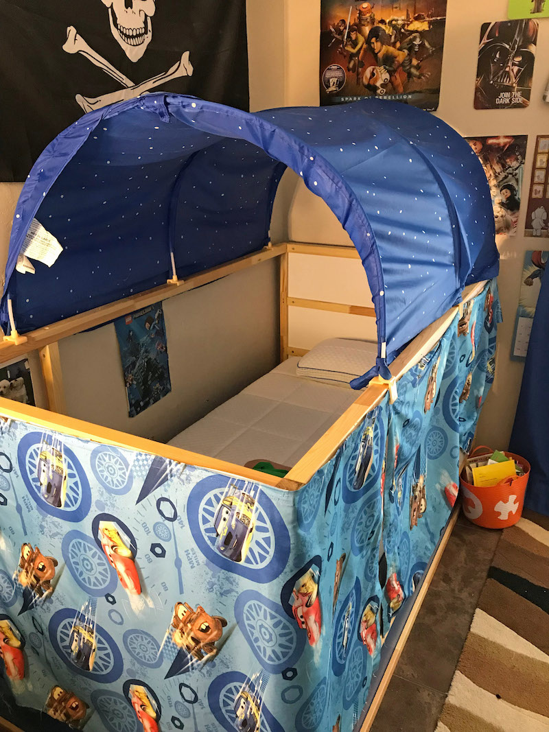 Little Boy room with ikea bed hack tent and curtains