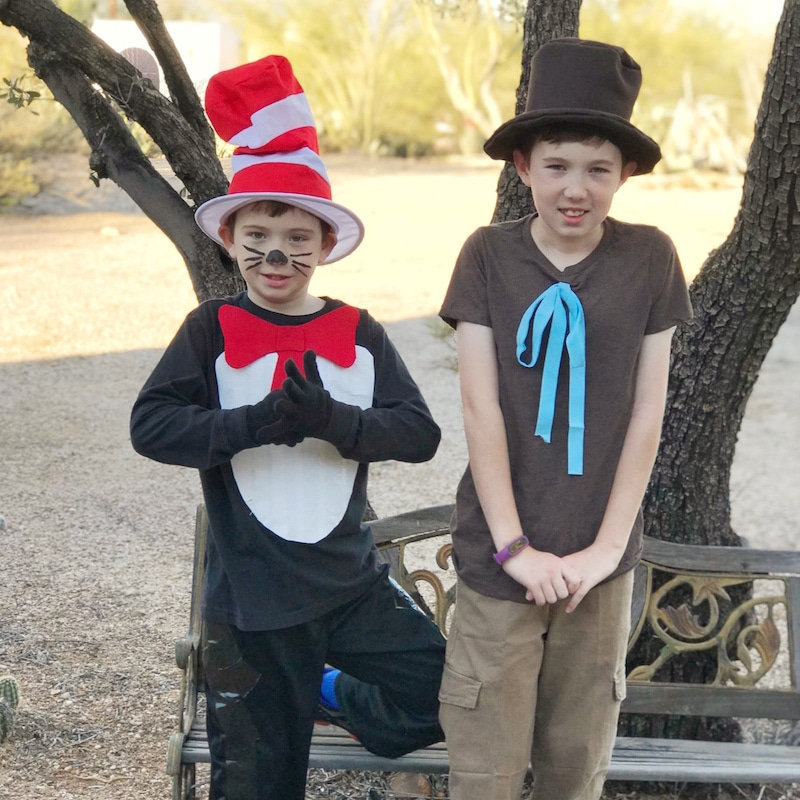 two kids dressed at Cat in the Hat and Mr. Brown from Dr. Suess Books