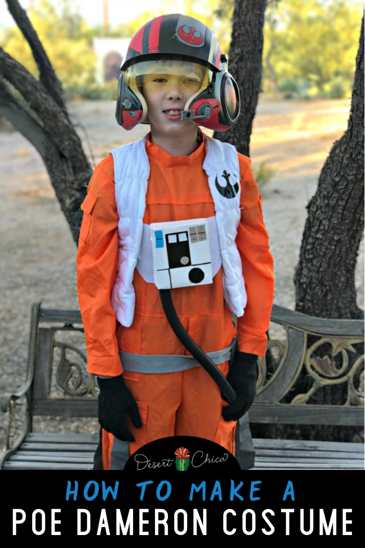 DIY Poe Dameron x-wing pilot costume including how to make the vest. It's an awesome Star Wars costume for kids or adults and best paired with his sidekick droid, BB-8
