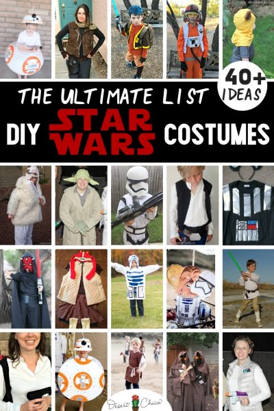 The best DIY Star Wars costumes for women, for kids and for men including how to make easy homemade Han Solo, R2-D2, Chewbacca, Jedi, Ewok, Leia, BB-8, Darth Vader, Yoda, and Luke Skywalker. These simple ideas are great for boys, girls, toddlers, family themes and couples costumes for Halloween or cosplay.