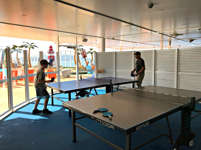Table Tennis on Royal Caribbean Symphony of the Seas cruise ship. It is one of the amazing tween friendly activities aboard the largest cruise ship in the world.