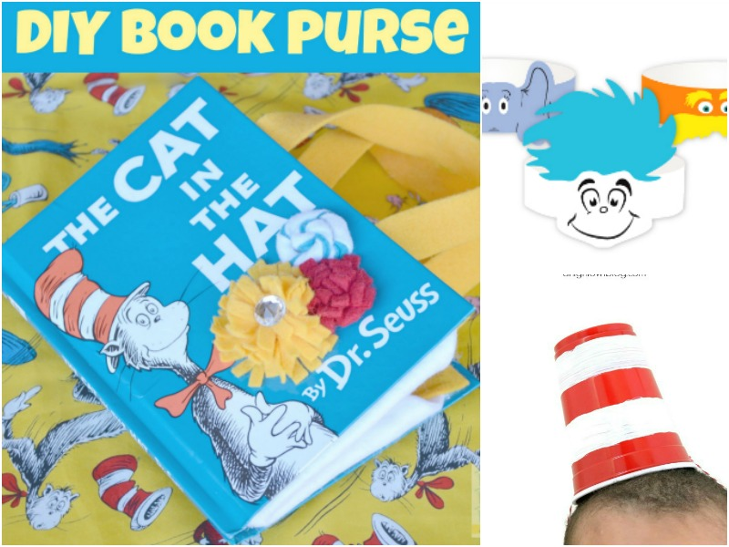 Dr. Seuss Activities for Read Across America Day including hats and a DIY purse