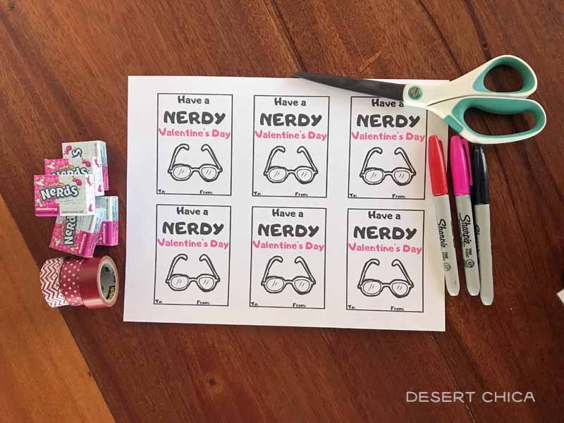 Nerdy Valentines Supplies to make DIY school valentines at home