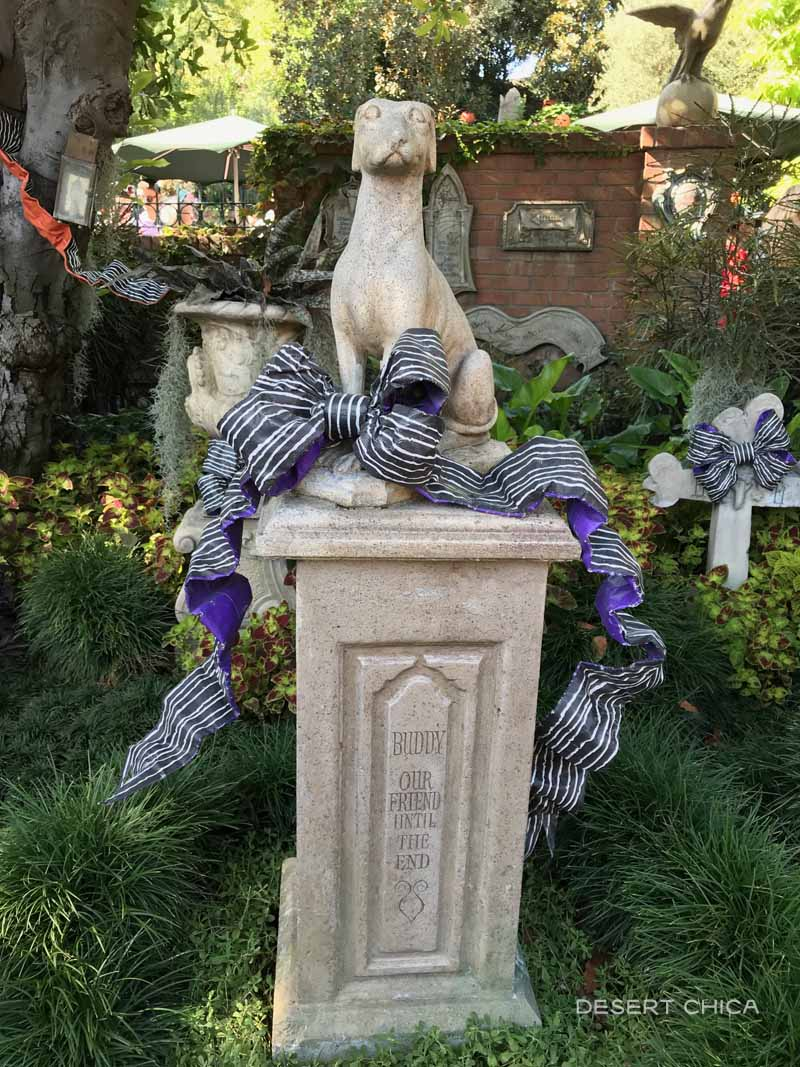 Statue of a dog in the cemetery in from the Haunted Mansion at Disneyland