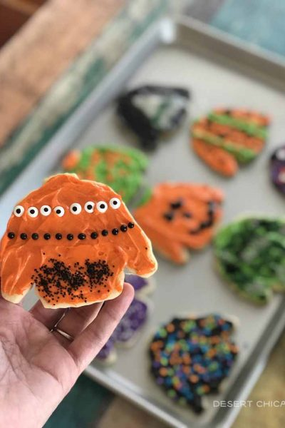 Halloween decorated frosted sugar cookies