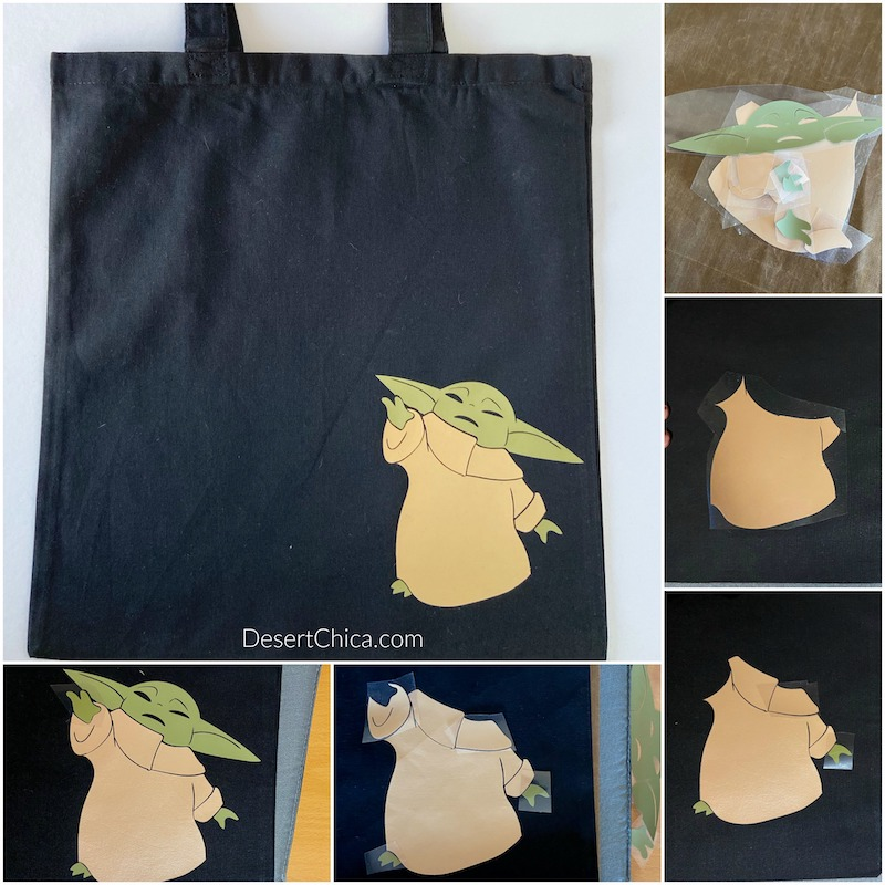craft showing how to add different vinyl pieces to create a baby yoda design