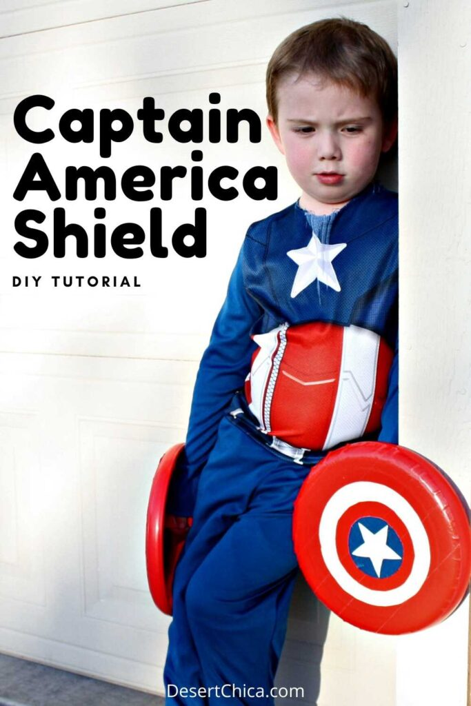 Boy dressed as Captain America holding a DIY Captain America Shield