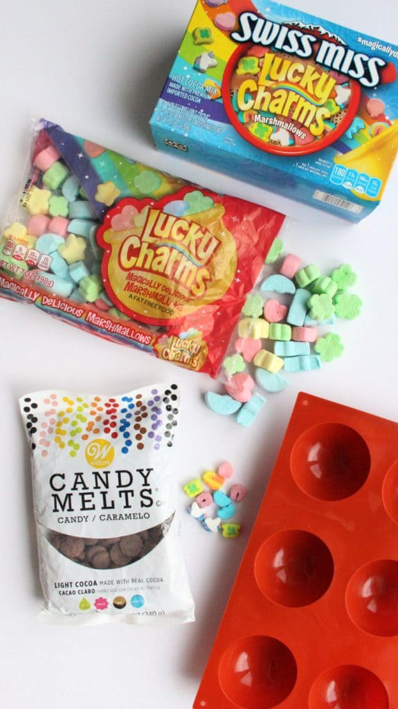 Lucky Charms Hot cocoa Supplies like candy melts, hot chocolate powder, silicone molds and Lucky Charms Marshmallows