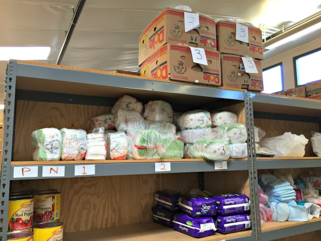 Diapers on a shelf at ICS Tucson Food Bank