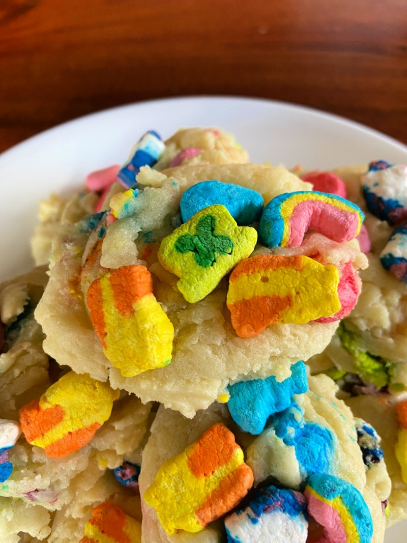 Cookies with lucky charms marshmallows on top