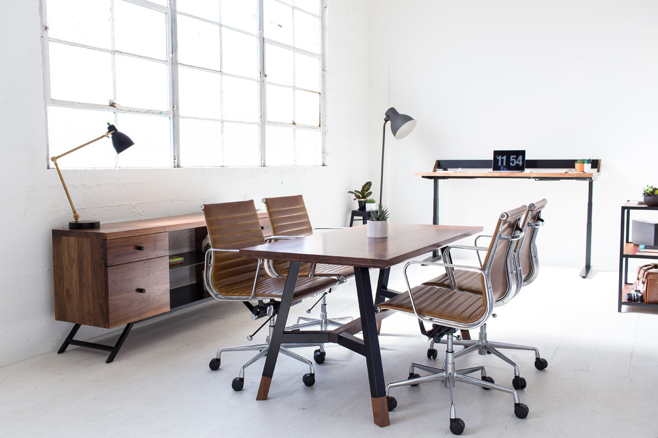 Harkavy Furniture Creates Modern Walnut   Steel Office Furniture