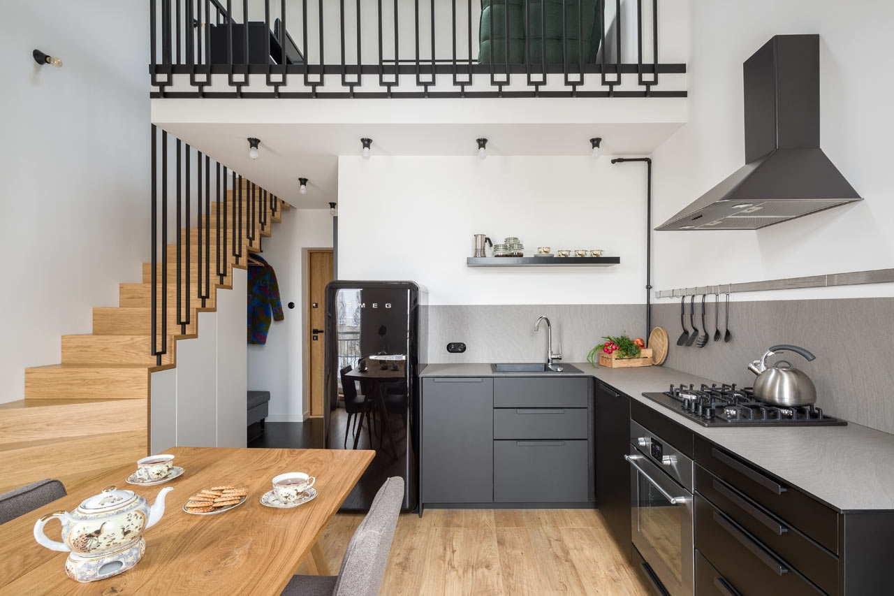 A Flat In A Tenement House In Lodz By 3Xel Architekci | House Plans With Stairs In Kitchen | Luxury | Separate Kitchen | Compact Home | 2 Bedroom Townhome | Central Courtyard House