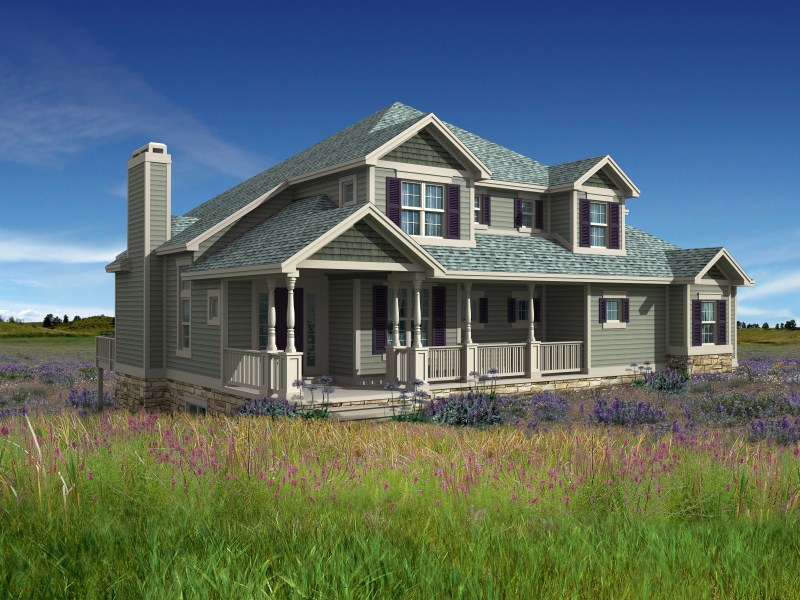 Prairie Style Home   Design Build Planners Architecture  Prairie Style Home 3d Model of prairie house photo matched in  landscape