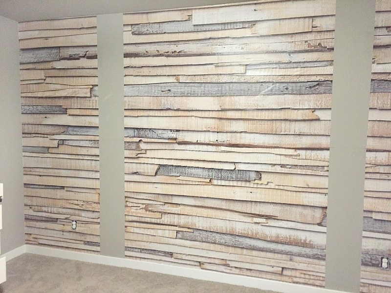 Whitewashed Wood Wallpaper Accent Wall   Taryn Whiteaker reclaimed wood wallpaper