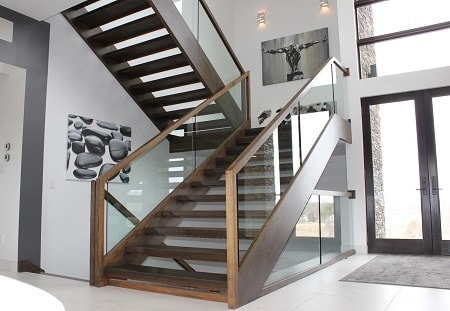 Midcentury Modern Stairs Photo Gallery Designed Stairs | Mid Century Modern Handrail | Cantilevered Spiral Stair | Art Deco | Modern Walnut | Tree Branch | Railing