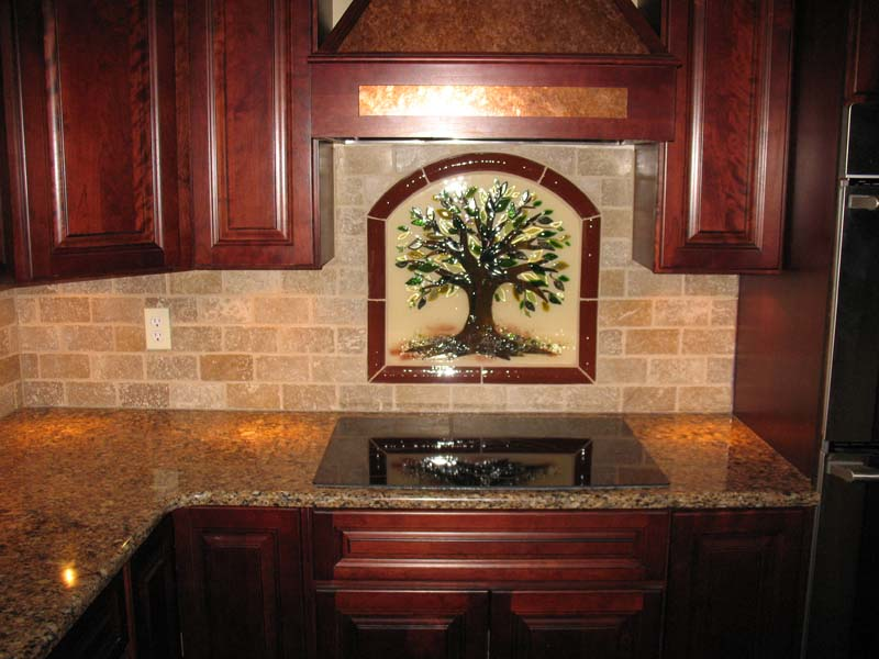 Quot Tree Of Life Quot Kitchen Backsplash In Fused Glass