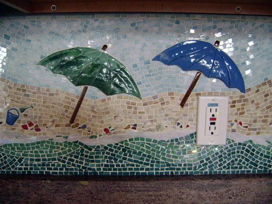 Mosaic Kitchen Backsplash Quot Beach Scene Quot Designer Glass Mosaics