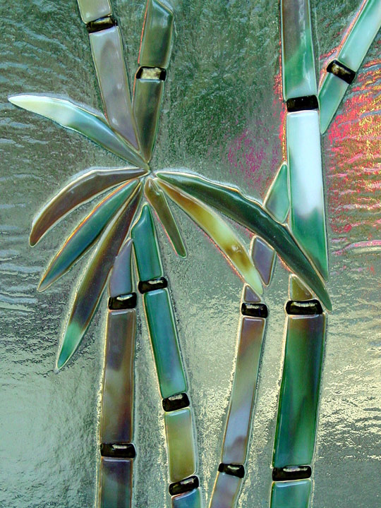 Fused Glass Cabinet Insert Panels In Quot Bamboo Quot Motif