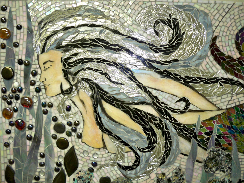 Stained Glass Mosaic Mermaid Mural For Master Bath