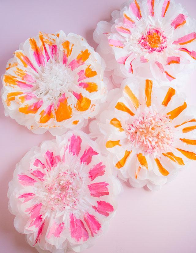 How To Paint Tissue Paper Pom Poms Design Improvised