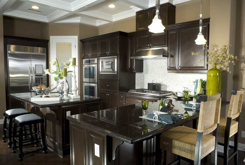 81 Custom Kitchen Island Ideas  Beautiful Designs    Designing Idea Dark kitchen island with eat in dining and bar counter