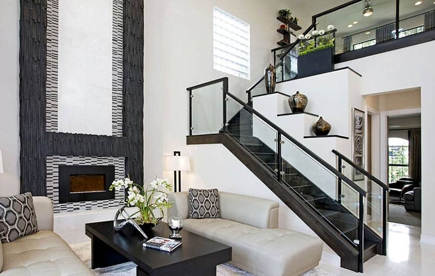60 Gorgeous Stair Railing Ideas Designing Idea   Modern Living Room With Stairs   Stylish   House   Mansion   Dining Room   Sleek Modern