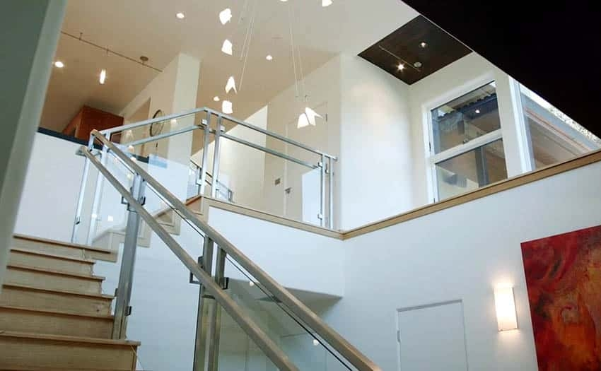 60 Gorgeous Stair Railing Ideas Designing Idea | Glass And Chrome Staircase | Contemporary | White Post | Single Spine | Lights | Stainless Steel