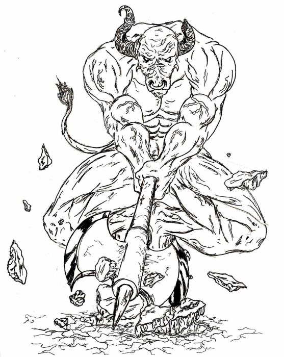 Minotaur Greek Mythology Coloring Pages