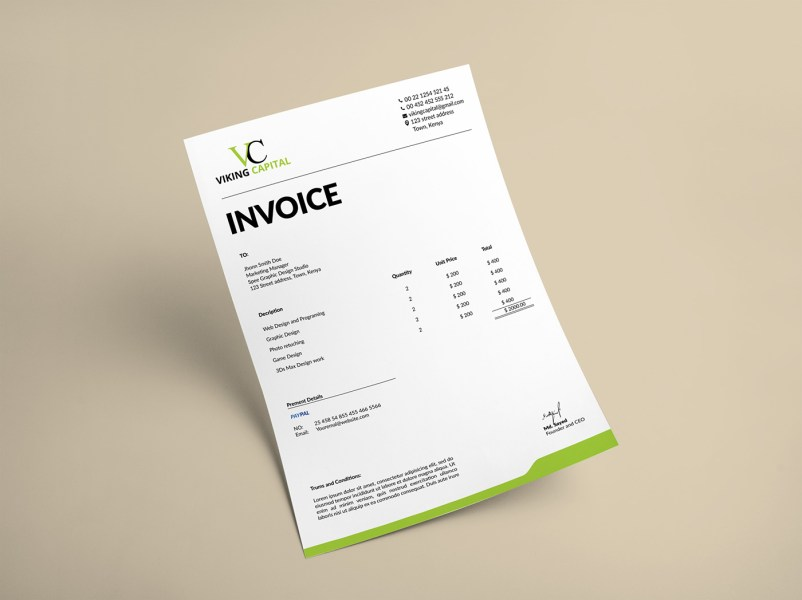 30 Creative Invoice Designs You Would Love to Send Yourself Minimalist Invoice Template Design