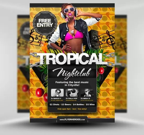 Free Flyer Templates  Download More Than 30 Wicked Designs     Tropical Summer Flyer Template