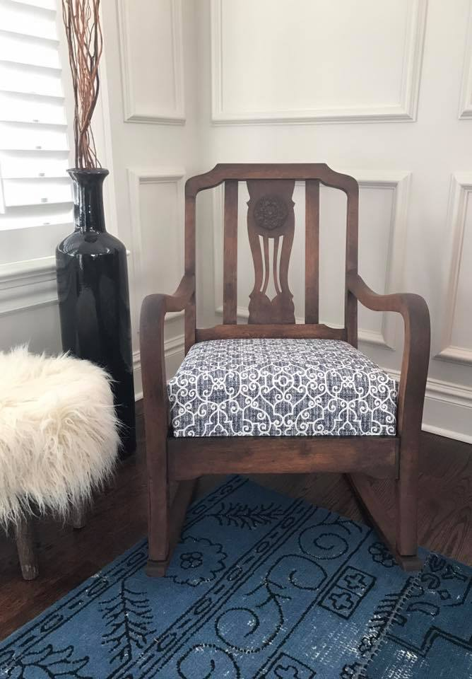 Navy Blue Upholstered Chair