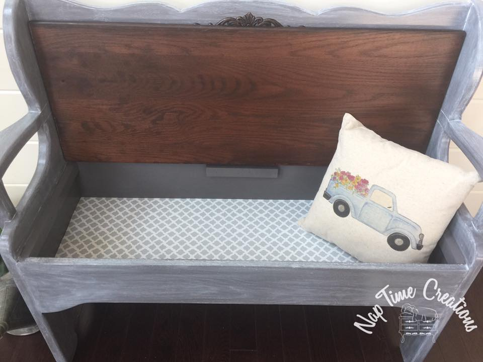 Bench In Driftwood And Winter White Wash General