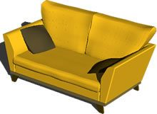 2 Seater Sofa With Pillows 3d Dwg Model For Autocad