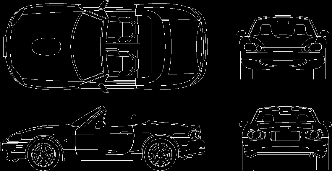 Car Mazda Roadster 2D Dwg Block For Autocad Designs Cad