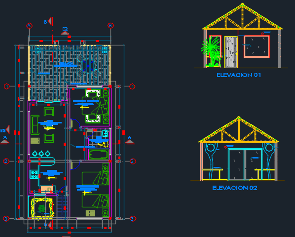Bungalow Project 2d Dwg Design Full Project For Autocad