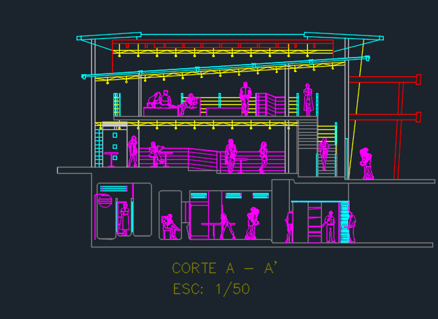 Two Levels Cafeteria With Cuts 2d Dwg Design Elevation For